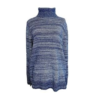 J Crew Mercantile Blue Stripe Turtleneck Sweater